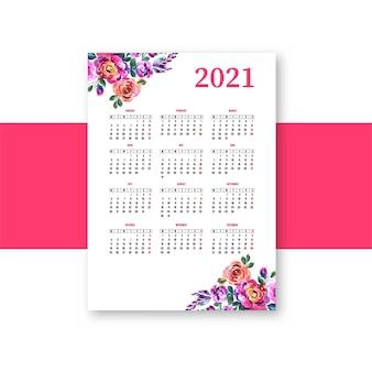 Blumenschablonenhintergrund des kalenderlayouts des jahres 2021