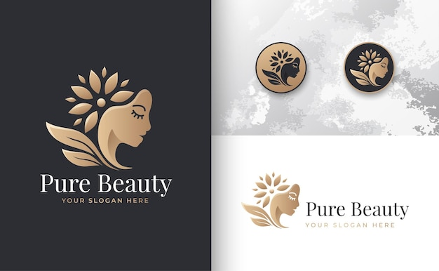 Blumenschönheitsfrauenlogodesign