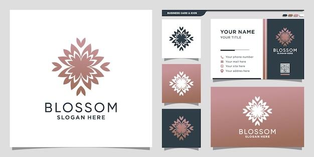Blumenschönheitslogo mit kreativem konzept und visitenkartendesign premium-vektor