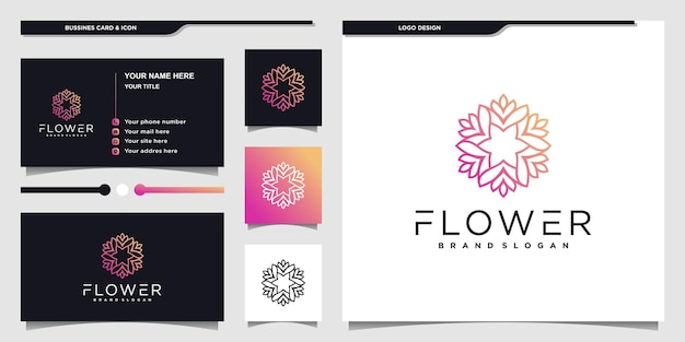 Blumenschönheitslogo und visitenkartendesign für schönheitssalon premium-vektor
