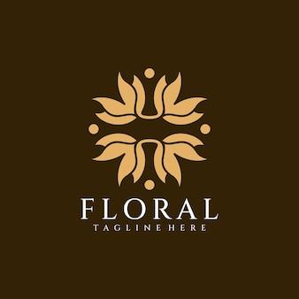 Blumenschönheitsschönheitsblumenlogo-designkonzept