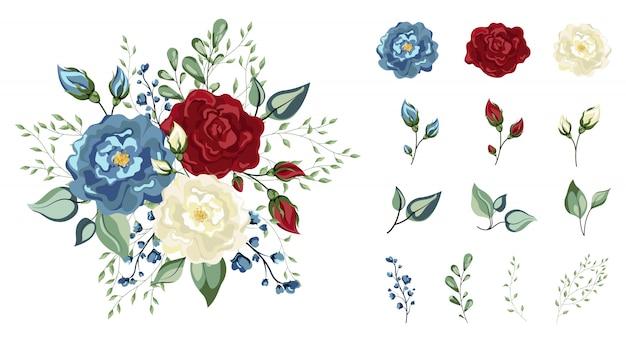 Blumenset. bunte rotblaue und weiße blumensammlung mit blättern und blumen, aquarellzeichnung. blumenrot, burgund, marineblau rose, grüne blätter. hochzeitskonzept mit blumen.