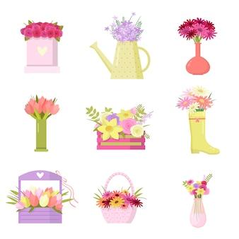 Blumenset der bunten blumensträuße in verschiedenen vasen über weiß
