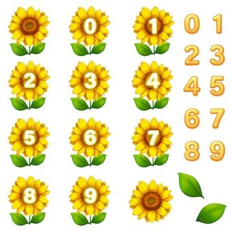 Blumenspielvorlagen-gui-kit. schnittstellennummer zum erstellen von web- und mobilen spielen und apps