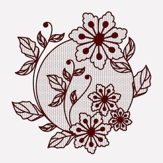 Blumenspitzeverzierung kreisförmig im einfarbigen schattenbild