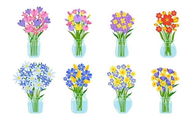 Blumensträuße im flachen icon-set der vase. karikatursommerbündel im glasgefäß mit wasser