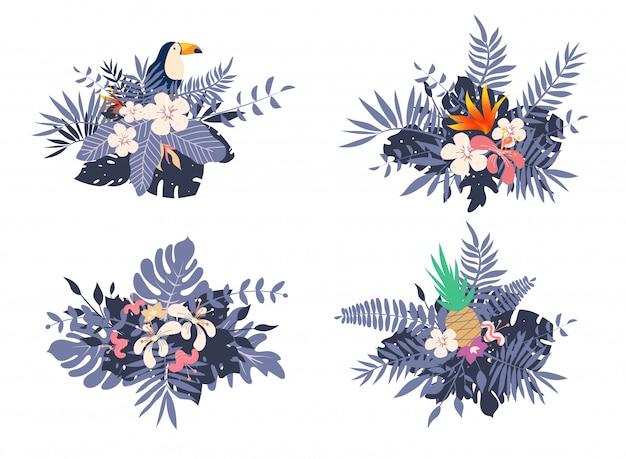 Blumensträuße mit tropischen exotischen blättern und blüten