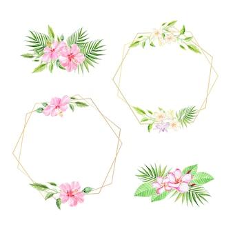 Blumensträuße und rahmen tropischer blumen mit palmblättern. aquarell sommerhintergründe.