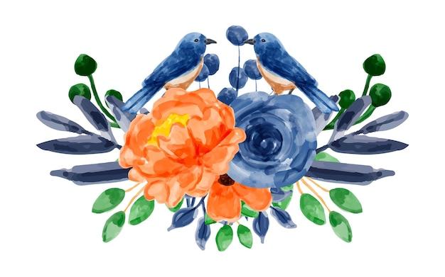 Blumenstrauß aus blau-orangefarbenen blumen mit aquarell