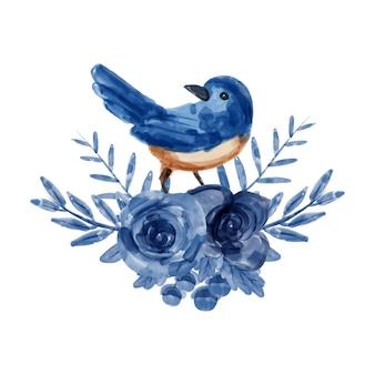 Blumenstrauß aus blauen blumen und vögeln mit aquarell