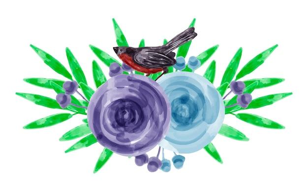 Blumenstrauß aus blauen lila blumen und vögeln mit aquarell