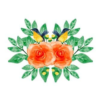 Blumenstrauß aus orangefarbenen blumen und vögeln mit aquarell
