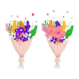 Blumenstrauß aus wilden frühlings- und gartentulpen blühenden blumen mit anderen dekorelementen isoliert auf weißem hintergrund. flaches design. papierschnitt-stil. handgezeichnete trendige vektor-grußkarte