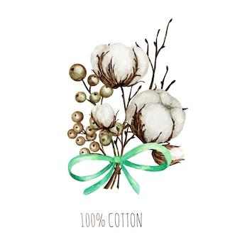 Blumenstrauß der aquarellbaumwollblumenzweige. botanische hand gezeichnete öko-produktillustration. baumwollblumenknospenkugeln im weinlesestil. grüne blätter, pflanzenball natur-öko-lebensstil