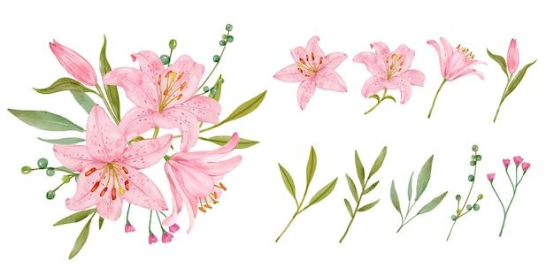 Blumenstrauß der rosa lilie des aquarells Premium Vektoren