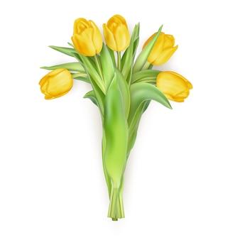 Blumenstrauß der tulpen-muttertagsblumen auf weißem hintergrund.
