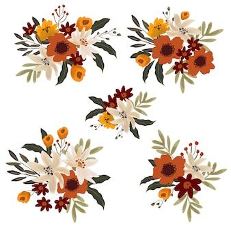 Blumenstrauß der weißen lilly und der roten anemonensammlung