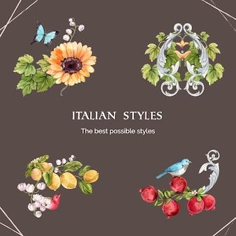 Blumenstrauß im italienischen stil im aquarellstil
