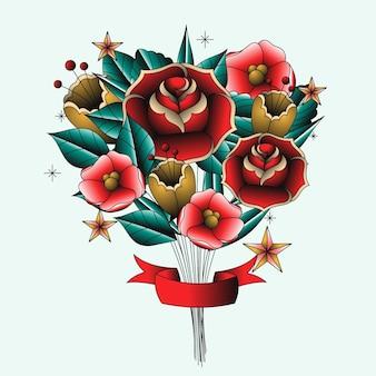 Blumenstrauß im tattoo-stil der alten schule
