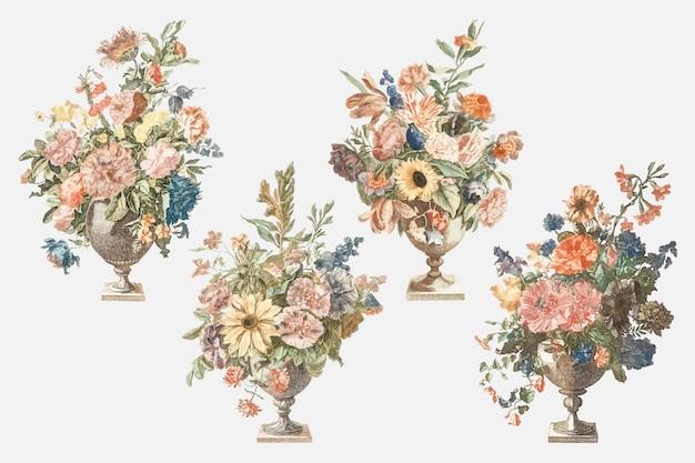 Blumenstrauß im vasenvektorweinlese-illustrationssatz
