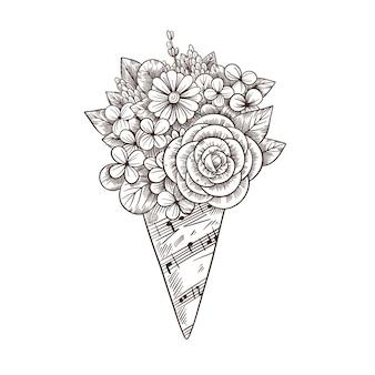 Blumenstrauß in einem umschlag von einer musikalischen blattillustration im weinlesestil.