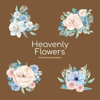 Blumenstrauß mit friedlichem konzept der blauen blume, aquarellart