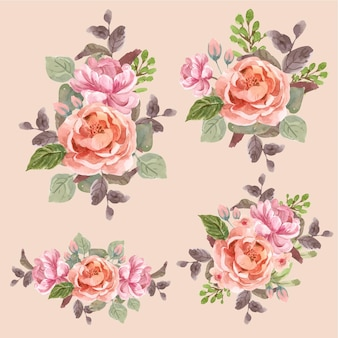 Blumenstrauß mit liebe blühenden konzeptentwurf aquarellillustration