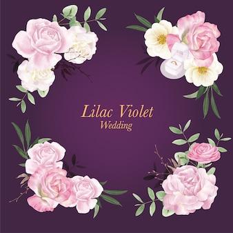 Blumenstrauß mit lila violettem hochzeitskonzept, aquarellart