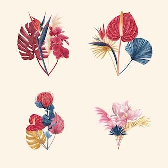 Blumenstrauß mit pampasblumenaquarell Premium Vektoren