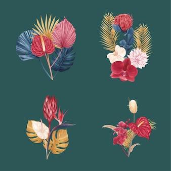 Blumenstrauß mit pampasblumenaquarell