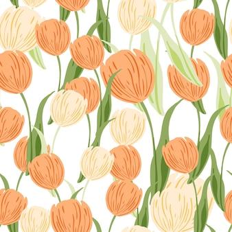 Blumenstrauß nahtlose blumenmuster mit orangefarbenen zufälligen tulpenblumen silhouetten. weißer hintergrund. isolierter druck. flacher vektordruck für textilien, stoffe, geschenkpapier, tapeten. endlose abbildung.