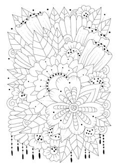 Blumenstrauß strichzeichnungen zum ausmalen kunsttherapie