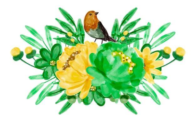 Blumenstrauß und vögel mit aquarell