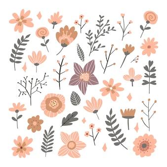 Blumenstrauß von handgezeichneten fantasy-volksblumen. botanische illustration im flachen karikaturstil.