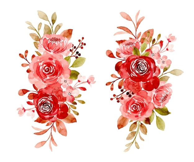 Blumenstraußkollektion der kastanienbraunen rose mit aquarell