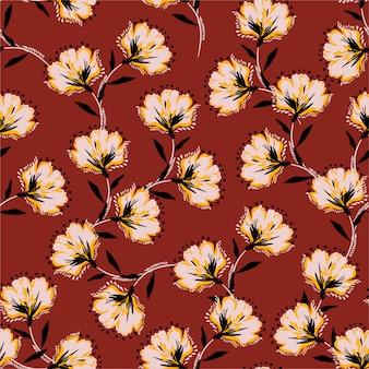 Blumenstraußvektormuster mit blühenden retro- blumen