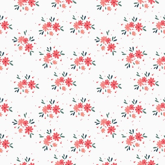 Blumenstraußvektormuster mit kleinen blumen und blättern