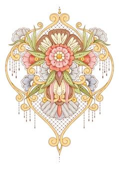 Blumensymmetrische traditionelle verzierung. rosa, blaue blumen.