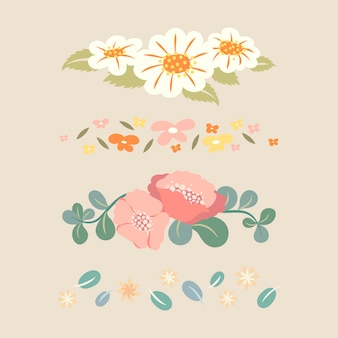 Blumenteiler, pastellfarbenes flaches design-aufkleber-vektor-illustrationsset