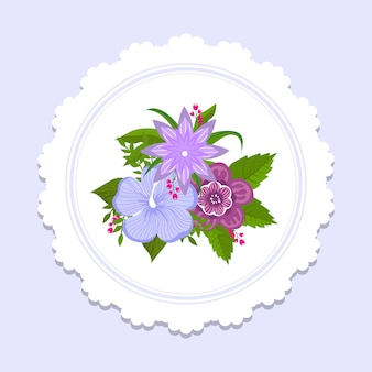 Blumenteller dekor design. banner mit buntem blumenstrauß mit grüner blattillustration