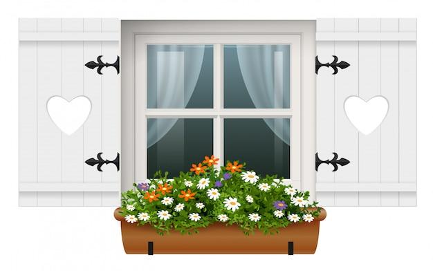 Blumentopf der hölzernen fensterfensterläden der weinlese