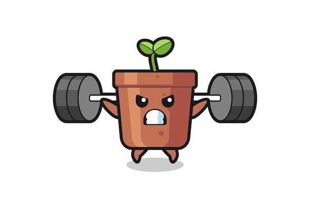 Blumentopf-maskottchen-cartoon mit einer langhantel, süßes design für t-shirt, aufkleber, logo-element