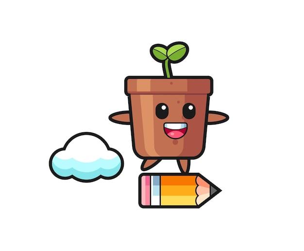 Blumentopf-maskottchen-illustration, die auf einem riesigen bleistift reitet, niedliches design für t-shirt, aufkleber, logo-element
