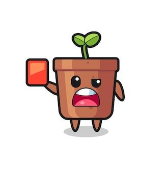 Blumentopf süßes maskottchen als schiedsrichter, der eine rote karte gibt, süßes stildesign für t-shirt, aufkleber, logo-element