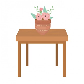 Blumentopf über tisch