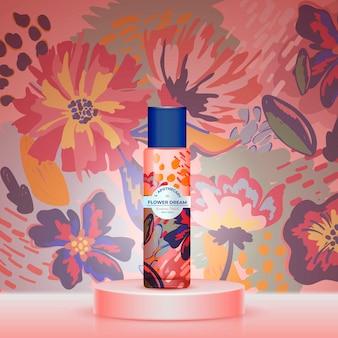 Blumentraumtee mit aquarell-design