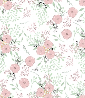 Blumenvektormuster mit kleinen blumen und blättern.