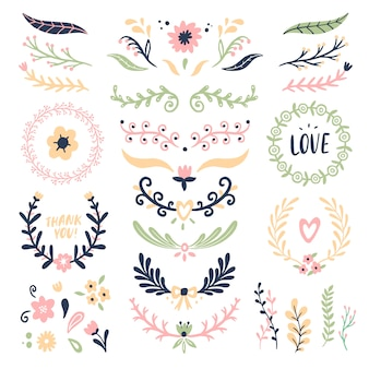 Blumenverzierungskranz. retro- blumenstrudelfahne, hochzeitskartenblumengirlandenrahmen und dekorative teiler lokalisierten satz