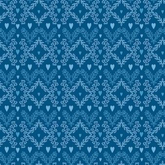 Blumenverzierungsmuster. blaue tapete mit blume und herzen.
