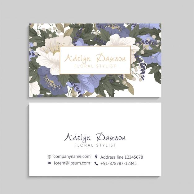 Blumenvisitenkarten blau mit blumen